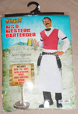 EUC Wild West Bartender Saloon Mens Adult Halloween Costume One - Male Bartender Halloween Costumes