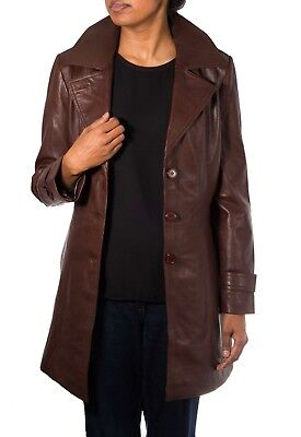 Ladies Brown Classic 3/4 Length Leather Fitted Trench Coat With Belt Tie & Vent