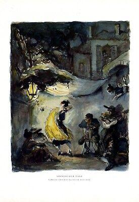 Spanischer Tanz XL Kunstdruck 1928 Richard Duschek Spanien Tänzerin Flamenco
