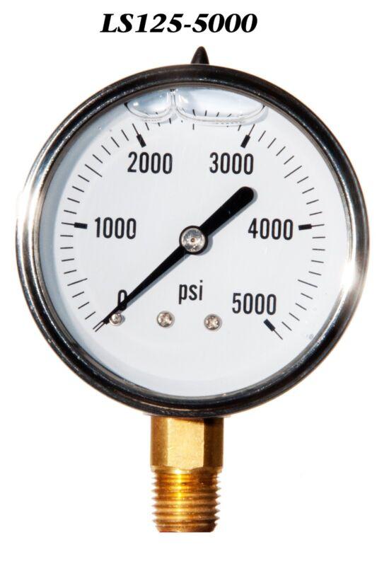 "New Hydraulic Liquid Filled Pressure Gauge 0-5000 PSI 2.5"" Face 1/4"" LM"