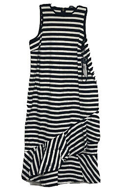 Lauren Ralph Lauren Women's B/W Striped Asymmetrical Flounce Dress XL 708001 NWT