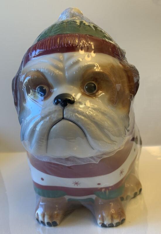 English Bulldog Cookie Jar Striped Sweater