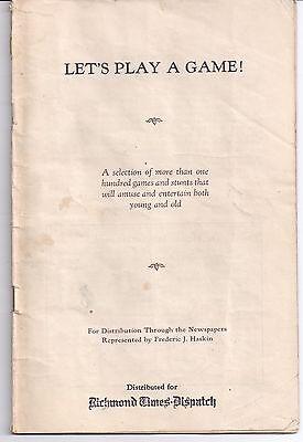 1930 Richmond Times Dispatch Frederic J  Haskin Lets Play A Game