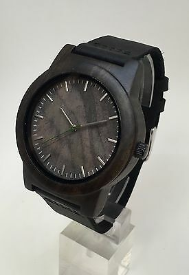 ALPHA Black Sandalwood Watch, stitched leather bracelet, bamboo wood grain dial