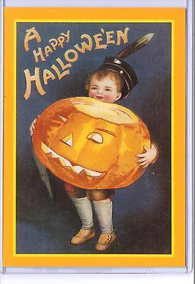 VINTAGE REPRODUCTION A HAPPY HALLOWEEN BOY WITH PUMPKIN REPRO POSTCARD  (Reproduction Vintage Halloween Postcards)