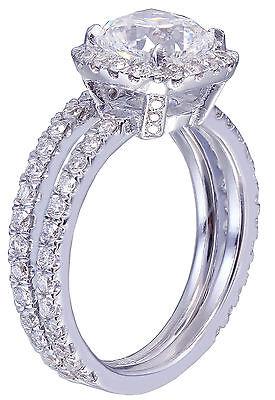 GIA G-VS2 18k White Gold Cushion Cut Diamond Engagement Ring And Band Halo 2.30c 3
