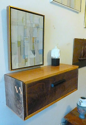 Mid Century Modern Style Floating Nightstand Wall Shelf Walnut & Cherry Art Deco