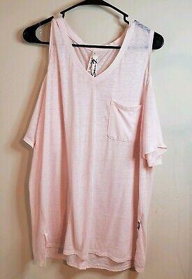 Seven7 pink Cold Shoulder Shirt Top Large veil rose 7M78163 womens Lightweight Sheer Veil