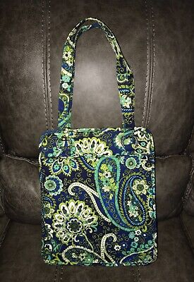 VERA BRADLEY RHYTHM & BLUES Paisley Tote Shoulder Bag PURSE Green Blue Navy EUC