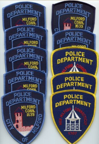 MILFORD & NEW MILFORD CONNECTICUT Trade Stock 10 Police Patches POLICE PATCH