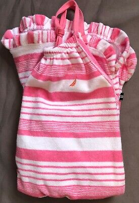 NWT NAUTICA Kids Girls Pink and White Striped Romper—Very Cute! Size S (7)
