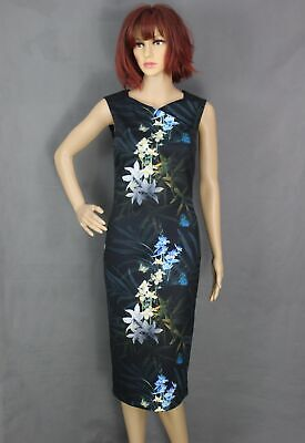 New TED BAKER Black LOUA Floral Pattern Pencil DRESS - Ted Size 1 - XS - UK 8