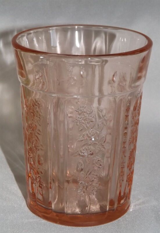 """Federal Sharon Pink Flat 4 1/8"""" Thick Water Tumbler - Depression -Cabbage Rose"""