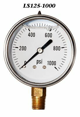 - Stainless Steel Case Liquid Filled Pressure Gauge 0-1000 PSI 2.5