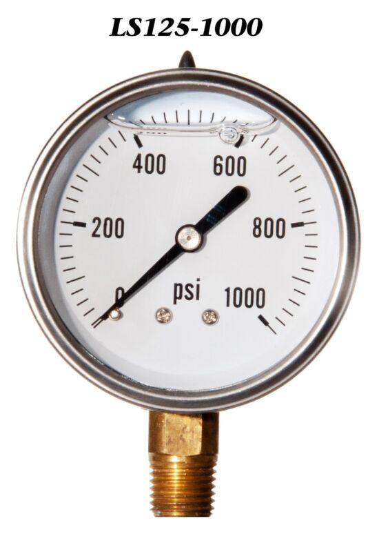 "Stainless Steel Case Liquid Filled Pressure Gauge 0-1000 PSI 2.5"" 2 1/2"" 1/4"" LM"