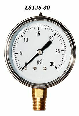 New Hydraulic Liquid Filled Pressure Gauge 0-30 Psi 2.5 Face 14 Lm