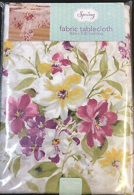 Floral Fabric Tablecloth 60 X 102 Beautiful Colors NEW