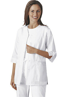 Cherokee 3/4 Sleeve Embroidered Jacket Top Women 1949 WHT White Free - Cherokee 3/4 Sleeve