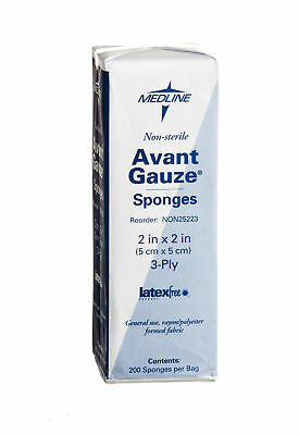 Medline Avant Gauze Non Woven Sponge  2  X 2   3 Ply  Case Of 5000   Non25223