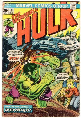 INCREDIBLE HULK #180 1974 Marvel Bronze Key 1st WOLVERINE Wendigo NO MVS STAMP