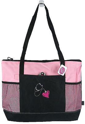 Stethoscope & Heart Gemline Select Zippered Tote Bag Medical Dr. Nurse Monogram