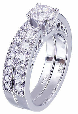 GIA H-SI1 14k White Gold Round Cut Diamond Engagement Ring And Band Deco 1.45ctw 4
