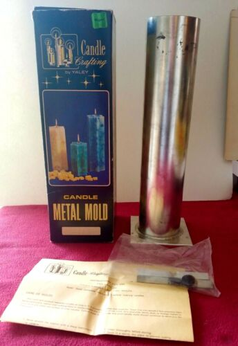 """Vintage YALEY Tall 13"""" X 31/4"""" Slender ROUND TIN Metal CANDLE MOLD W/ Box"""
