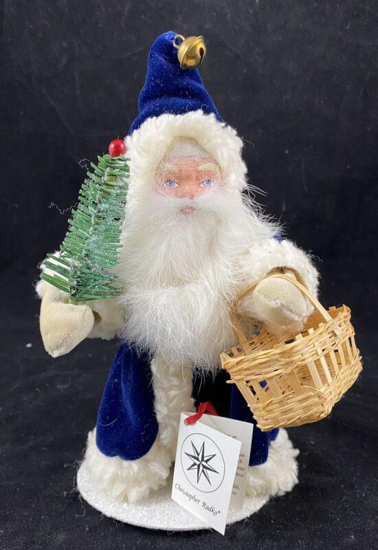 "Christopher Radko 8"" Santa Claus Ino Schaller  # 28 Of 600 Papier-mâché Blue"
