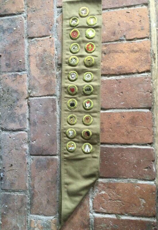 Boy Scouts BSA Vintage SASH W/ PATCHES, MERIT BADGES, 21 Patches