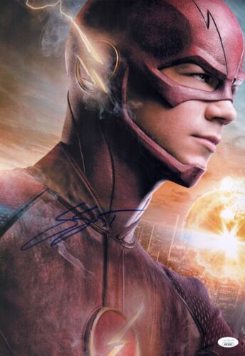 GRANT GUSTIN Signed THE FLASH Barry Allen 12x18 Photo Autograph JSA COA