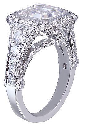 GIA I-VS2 18k White Gold Asscher Cut Diamond Bezel Engagement Ring Deco 3.30ctw 6