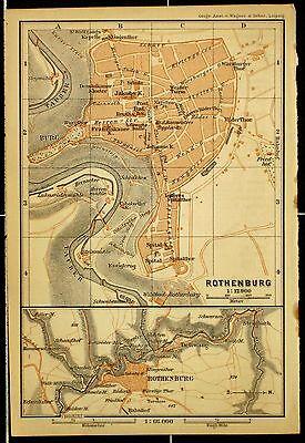 ROTHENBURG o. T., alter farbiger Stadtplan, datiert 1901