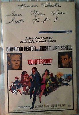 Vintage COUNTERPOINT Movie Poster (1968) CHARLTON HESTON - MAXIMILIAN SCHELL