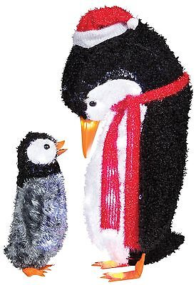 Christmas Home Outside Decoration Mom & Baby Penguin 2 Piece Light Up Yard Prop