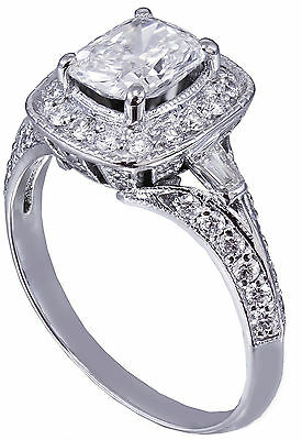 GIA G-SI1 14K WHITE GOLD CUSHION CUT DIAMOND ENGAGEMENT RING DECO 1.70CTW 6