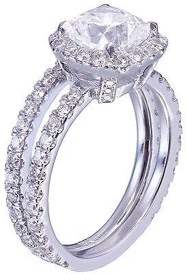 GIA G-VS2 18k White Gold Cushion Cut Diamond Engagement Ring And Band Halo 2.30c 4