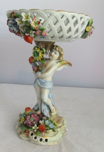 FABULOUS VICTORIAN  ANTIQUE  FIGURAL PORCELAIN COMPOTE WITH CUPID. MEISSEN STYLE