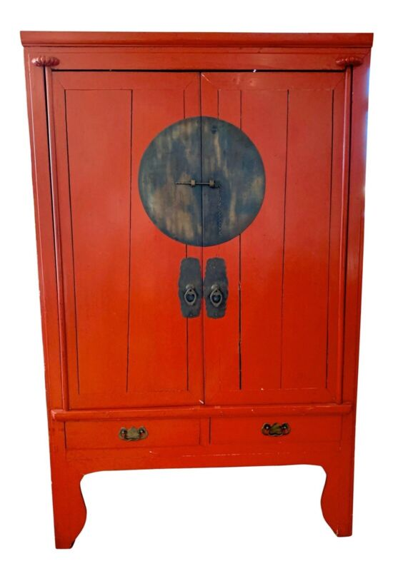 Chinese Red Lacquered Armoire Cabinet Credenza Chest Dry Bar Buffet Sideboard