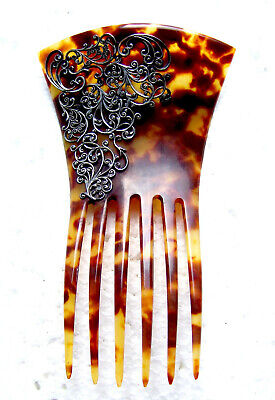 Victorian Wigs, Hair Pieces  | Victorian Hair Jewelry Victorian faux tortoiseshell hair comb silver embellished hair ornament $150.00 AT vintagedancer.com