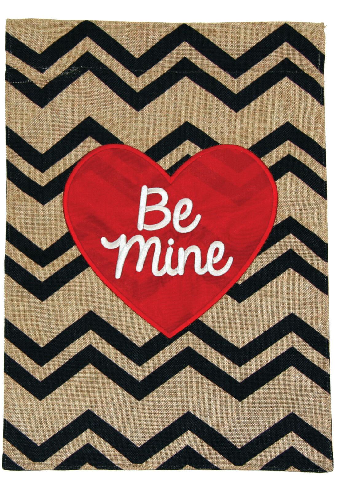 Toland Be Mine Heart Burlap 12 x 18 Chevron Valentine Garden