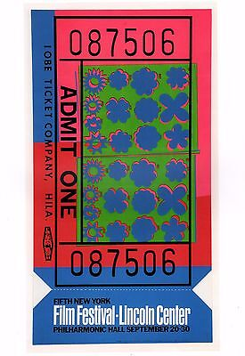 ANDY WARHOL POSTER ART ( PRINT)  5TH NYC FILM FESTIVAL LINCOLN CENTER 1967