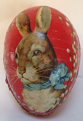 Antique Vintage Paper Mache Rabbit Cardboard Candy Continer Easter Egg German