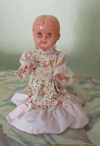 """VINTAGE MADE IN HONG KONG 8 ½"""" STANDING DOLL DRESSED PINK FLORAL Kambah Tuggeranong Preview"""