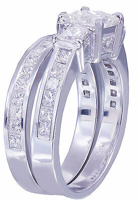 GIA H-VS2 14k white gold princess cut diamond engagement ring and band 2.00ctw 5