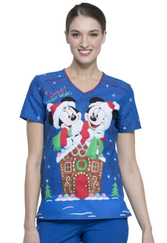 Mickey Mouse Cherokee Scrubs Tooniforms Disney Christmas V Neck Top TF690 MKGN