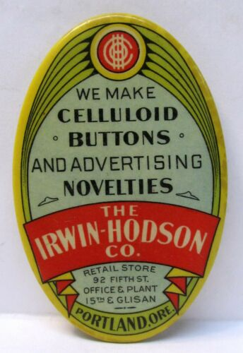 rare IRWIN-HODSON Advertising Novelties PORTLAND OREGON pocket mirror *