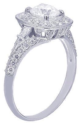 GIA H-VS2 14k White Gold Round Cut Diamond Engagement Ring Deco Prong 1.95ctw 10