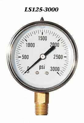 New Hydraulic Liquid Filled Pressure Gauge 0-3000 Psi 2.5 Face 14 Lm