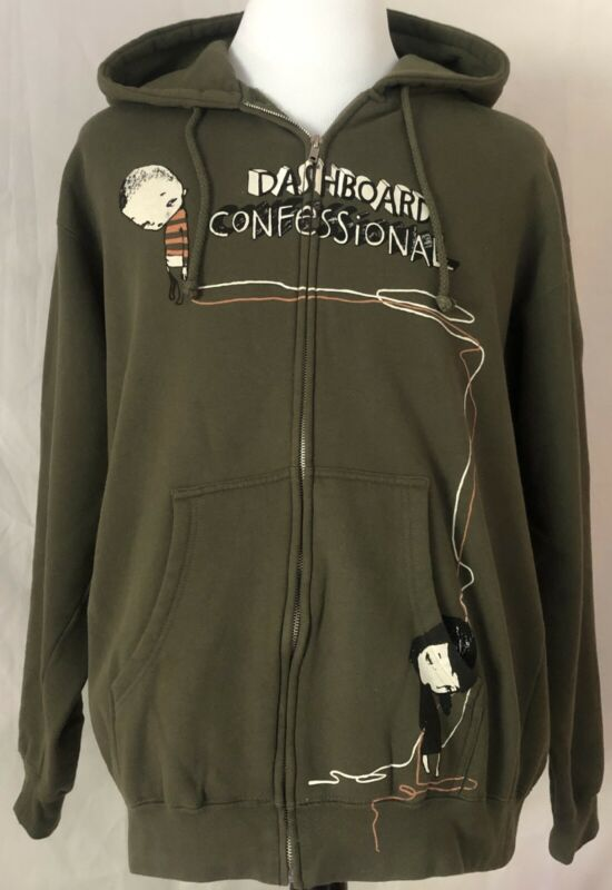 Dashboard Confessional 2006 Dusk To Summer Tour Green Hoodie Sweatshirt Large