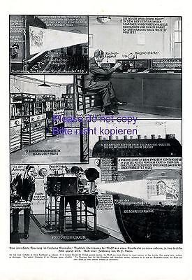 Kino London 1924 XL S. 4 Zeichnungen Vorführraum Filmprojektor Filmvorführer +
